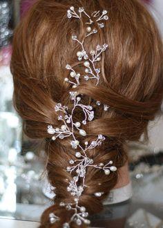 Bridal hair vine pearl and crystal hair vine hair vine boho