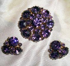 Signed Weiss Brooch Earrings Purple by TheJewelryEmporium on Etsy, $155.00