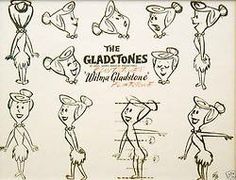 "The ""Gladstones"" before it was changed to ""The Flintstones"" see more of these at http://penciltests.tumblr.com/post/62081676468/the-flintstones-1960-1966-model-sheets-from"