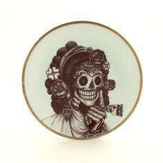 Sugar Skull Altered Vintage Porcelain Plate by MoreThanPorcelain
