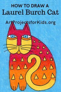 Laurel Burch Cat Drawing · Art Projects for Kids Line Art Lesson, 3rd Grade Art Lesson, Third Grade Art, Grade 1, Preschool Art Lessons, Art Lessons For Kids, Art Lessons Elementary, Laurel Burch, Wayne Thiebaud