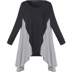 Gracila Casual Long Sleeve Striped Patchwork Irregular Hem Women... ($14) ❤ liked on Polyvore featuring tops, t-shirts, stripe t shirt, striped long sleeve t shirt, striped sleeve t shirt, striped tee and long sleeve tops