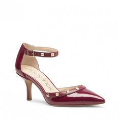 Eggplant Studded Mid-heel Pump | Anneke | Free Shipping on Orders $30+