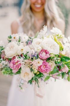 "From the editorial ""This Bride's Cost-Cutting Ideas Look Like A Million Bucks."" Instead of going with a traditional October color palate, Meg opted for light pastels, which complimented the cottage-esque venue perfectly. We just love the pop of pink in her bouquet!  Photography: @justinewrightphoto  #pastelbouquet #pastelbridebouqet #weddingbouquet #pastelflorals #pastelflowers Wedding Ceremony Flowers, White Wedding Bouquets, Bride Bouquets, Bridal Flowers, Bridesmaid Bouquet, Floral Wedding, Romantic Wedding Photos, Romantic Weddings, Wedding Pictures"