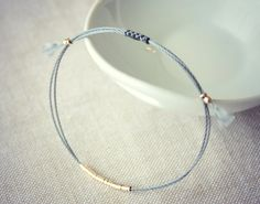 Lucia / Charcoal Friendship Bracelet with Gold
