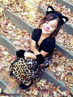 Leopard kitty costume cute cats autumn diy halloween costumes kids costume