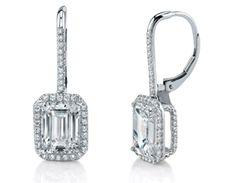 Emerald Cut Diamond Dangle Earrings