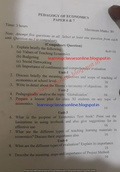 BEd model test sample practice test question paper of pedagogy of economics in both hindi and english medium for b.ed first and second year Education Quotes For Teachers, Quotes For Students, Elementary Education, Quotes For Kids, Sample Question Paper, High School Art, Educational Websites, Art Lesson Plans, Study Materials
