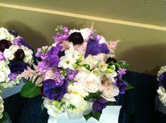 Bride's Bouquet - Garden roses, purple anemone, purple ranunculus, white freesia, pink astilbe, lavender stock and white peonies. | Flickr - Photo Sharing!