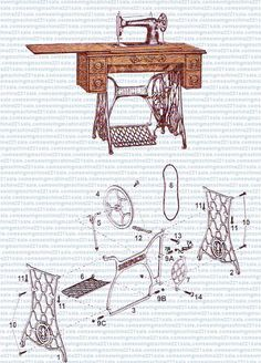 Diagram of a Singer treadle machine