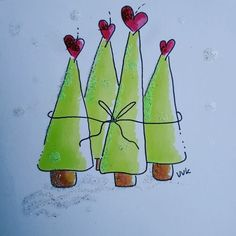Watercolor card with fir trees You are in the right place about christmas diy Here we offer you the most beautiful pictures about the christmas … Christmas Doodles, Diy Christmas Cards, Xmas Cards, Christmas Art, Diy Cards, Christmas Decorations, Christmas Wishes, Christmas Glitter, Watercolor Christmas Cards