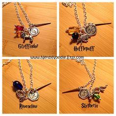 Harry Potter inspired Hogwarts Houses Charm Necklace - Gryffindor, Hufflepuff…