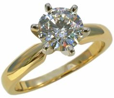 Diamond solitaire #engagement ring with 1.25ct round #diamond in 14k yellow gold