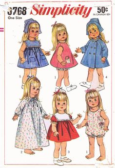 ORIGINAL Doll Clothes PATTERN 6768 for 18 inch Susie Sunshine Baby First Step