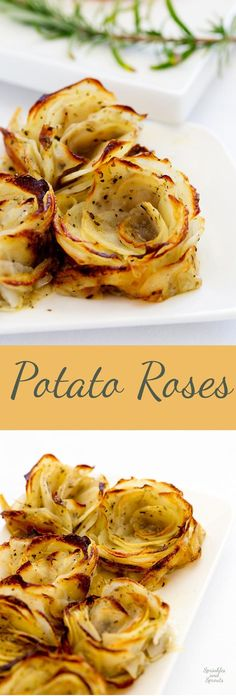 Soft, tender potato roses. Potatoes dressed with oodles of butter and arranged to be oh so so pretty. Seriously these look like a flower, even when they collapse they are super beautiful. Aren't they prittttttty!!!!