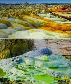 """Some have called this the """"cruelest place on Earth."""" Dallol is a volcano hidden beneath a kilometer-thick layer of salt in the Danakil depression in the Afar region, Ethiopia (at ~120 m below sea level). It manifests itself by an incredible variety of colorful springs and fumaroles in an alian landscape of salt, sulphur and other mineral deposits."""