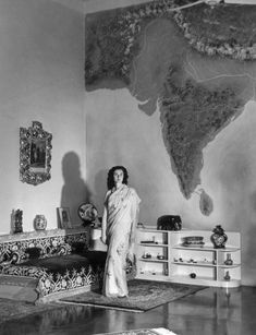 Princess of Berar Duru Shevar, the wife of the heir to the throne of Hyderabad, in the chamber of her palace. Photograph by Margaret Bourke-White. Hyderabad, India, 1946.