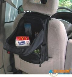 Use a Backpack as a Desk - you just have to add something relatively hard to the unzippered top to make it sturdy. 20 Easy DIY Ideas and Tips for a Perfectly Organized Car