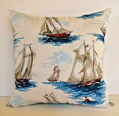 Nautical Navy Pillow, Beachy Pillow, Gifts for Men, Pillow with Sailboats, Beach House Decor, Nautical Home Decor