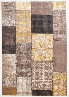 vintage teppich grau gemustert 120x170 cm, flachgewebe - klick ... - Teppich Gelb Braun