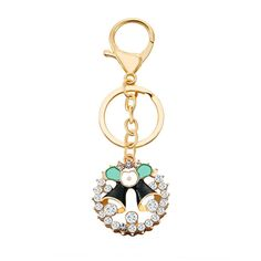 Women Men Enamel Crystal Garland Key Chain Ring Christmas Wedding Gift Wreath Bells Holly Key Hook Xmas -- A special product just for you. See it now! : Valentine Gifts