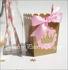 #Pink & Gold #PrincessParty Popcorn Boxes