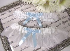 """great """"something blue""""  Organza Bridal Garter with Scattered Blue Crystals $28.95"""