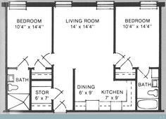 700 Sq Ft 700 to 800 sq ft house plans | 700 square feet, 2 bedrooms, 1