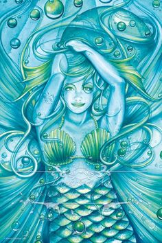 Mermaid Art 9x6 Print Goddess of the Sea by Lunarianart on Etsy, £9.00