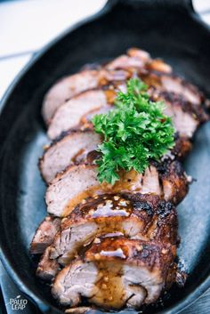 Cinnamon And Cumin Pork Tenderloin - Cinnamon, cumin and chili powder rubbed into a pork tenderloin, finished with a sweet sauce drizzled atop.