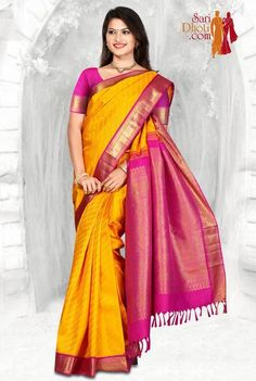 Indian Silk Sarees, Kanchipuram Saree, Saree Collection, Indian Bridal, Kurtis, Pink Color, Desi, Classy, Yellow