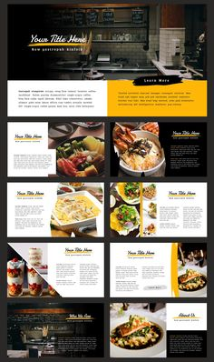 Piquant Powerpoint Template by Thrivisualy on Print Layout, Layout Design, Design Design, Graphic Design, Carta Restaurant, Restaurant Identity, Mise En Page Web, Menue Design, Restaurant Website Design