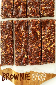 HEALTHY Brownie Granola Bars - 7 ingredients, naturally sweetened