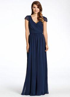 Formal+Navy+Blue+Chiffon+V+Neck+Long+A+Line+Bridesmaid+Dress+B1jl0145