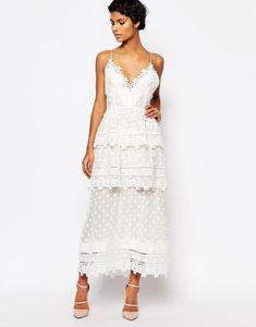 White Lace Trim Midi Dress, SELF PORTRAIT (Available at Asos), $514