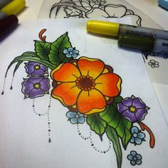 Flowers  #copic #drawing #tattoo #tattooflash #traditional #neotraditional #larissalistless #artwork #art #colorful #cute #colorexplosion #instagood #design #color #tattoodrawing #flower #flowertattoo #leafs