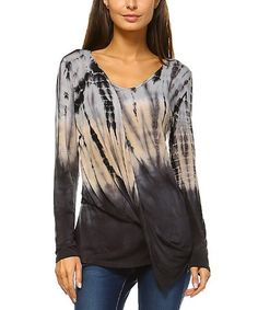 Beige & Charcoal Tie-Dye Ombré Twist-Front Long-Sleeve Top #zulily #zulilyfinds