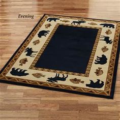 Your lodge needs an area rug to keep your feet from touching the frosty cold floor. This area rug is perfect for a log cabin in the woods. Black with brown the design consists of bears, moose, and fish.