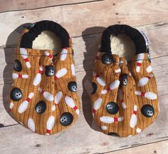 Bowling booties, Bowling Moccs, Bowling soft sole shoe, Baby Shower Gift, Unisex Booties, Bowling Crib Shoes, Unisex Moccs by DGBooties on Etsy