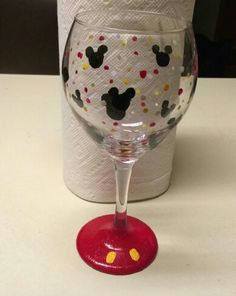 Hand painted Mickey Mouse wine glass