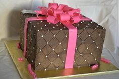 Quilted Chocolate Carmel Present  Cake by CrystalMemories