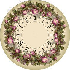 MI BAUL DEL DECOUPAGE Beige clock with circle of flowers
