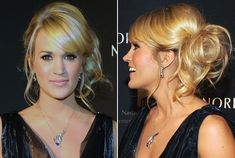 Carrie Underwood's Looped Side Ponytail: Begin by sectioning out bangs & a few pieces along the front hairline. Next, backcomb hair through the crown to create a lot of volume. Then, collect hair into a ponytail right behind & slightly above the right ear. Secure tresses with a hair elastic, but instead of drawing hair completely through, pull the ponytail through only halfway so that it forms a large loop. Loosen a few strands & take out a few pieces, adding some texture with a curling iron.
