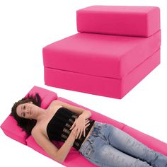 The Gilda Standard Chairbed can be arranged as a chair or a single bed. Ideal for kids sleep-overs or unexpected guests. Chair simply unfolds to become a single bed size floor mattress - large enough for most kids and will do for adults with the addition of a pillow at one end.   eBay!