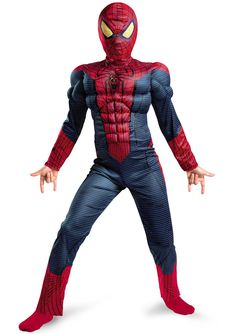 The Amazing Spider-Man Light Up Muscle Chest Child Costume - The costume includes a jumpsuit and hood. Does not include socks. This is an officially licensed Marvel costume.