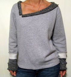 Trendy Sweatshirt Refashion Remake Old Sweater 28 Ideas Diy Clothing, Sewing Clothes, Old Sweater, Sweaters, Jumper, Umgestaltete Shirts, Cycling T Shirts, Sweatshirt Refashion, Altered Couture