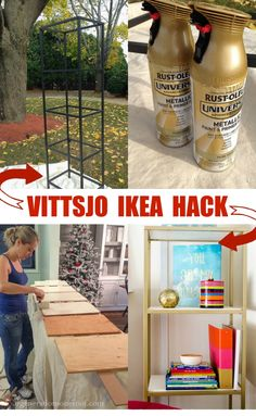 Ikea Hack Vittsjo Shelving {spray paint + wood shelving}