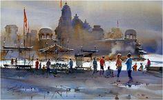 Prafull-Sawant-09 Gouache, Watercolor Landscape, Watercolor Paintings, Moroccan Art, Rural India, Unique Buildings, Amazing Drawings, Urban Sketching, Varanasi
