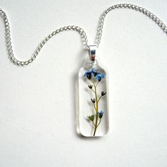 Forget Me Not  Real Flower Garden Necklace  by enchantedplanet