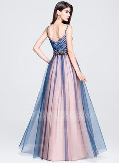 A-Line/Princess Sweetheart Floor-Length Tulle Prom Dress With Ruffle Beading Sequins (018070395) - JJsHouse